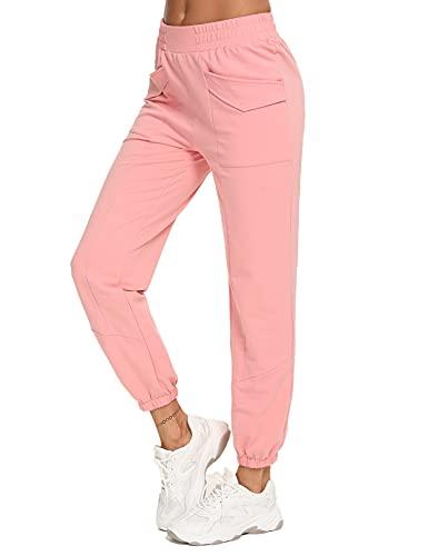 Sykooria Pantaloni Donna Pantaloni Sportivi Donna Estivi con Tasche in Cotone Pantaloni Jogger Pantaloni Sportivi Morbidi Leggeri Pantaloni Casual Donne Sciolto da Piede del Fascio(Rosa,XL)