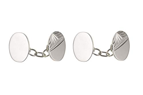Sterling Silver demi-Gravé ovale Boutons de manchette