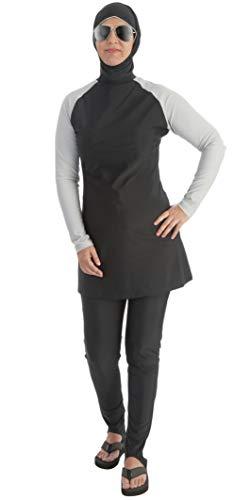 Beco Damen muslimischer Badeanzug Wetsuit Wassersport Oberteil mit Hose Swimwear Burkini, Silber/Schwarz, S