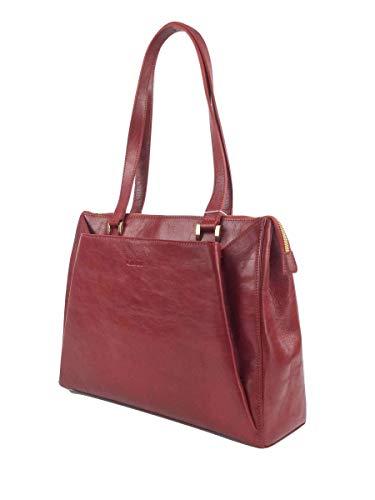 Giudi ® Handtasche Damen Leder Rot Echtleder Henkel-Tasche Schultertasche Mit Reisverschluss Vielen Fächern Elegant Designer Jetsetter Luxus Trend Hochwertig Ökoleder Nachhaltig