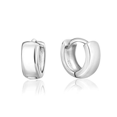 DTPsilver - Damen - Creolen Scharnierbügel Klein - Ohrringe 925 Sterling Silber -Dicke 2 mm - Breite 4.5 mm - Durchmesser 10 mm