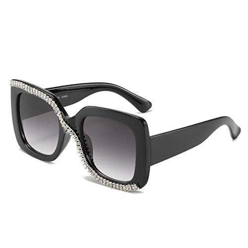 DLSM Diamante Cuadrado Dimensiones Grandes Rhinestone de Las Mujeres Gafas de Sol Vintage de Cristal Tonos Negros UV400 El compañero Ideal para Conducir, Deportes-C2 Negro Gris
