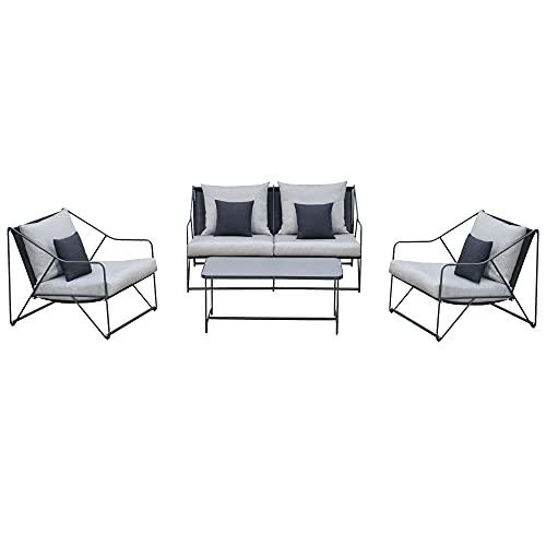 Outsunny 4-TLG. Gartengarnitur Gartenmöbel-Set Gartenliege Gartenset Sitzgruppe mit Couchtisch Sofa mit Kissen Outdoor Metall Grau+Schwarz