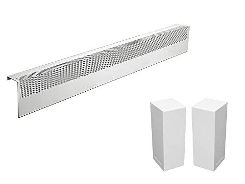 Baseboarders Basic Series Galvanized Steel Easy Slip-On Baseboard Heater Cover in White (4 ft, Cover + L&R End Caps)