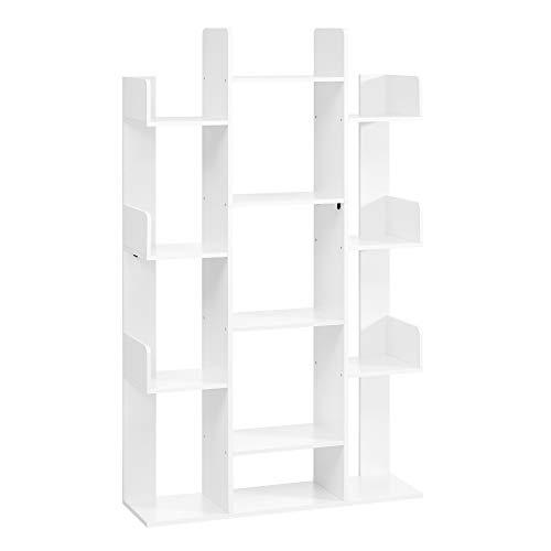 VASAGLE Bücherregal im Baumform, Standregal mit 13 Fächern, Aufbewahrungsregal, 86 x 25 x 140 cm, mit abgerundeten Ecken, weiß LBC067W01