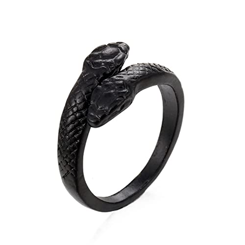 Anillos de serpiente Metal Punk Anillo de dedo exagerado ajustable abierto para mujeres Hombres Joyería de fiesta Regalo de tamaño variable, H