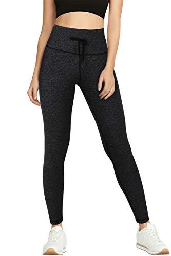 3W GRT Leggins Mujer,Mallas de Deporte de Mujer,Pantalones Petite Mujer,Pantalón Deportivo para Mujer,Cintura Alta Pantalones Deportivos para Running,Estiramiento,Yoga (Gris- con cordón, M)
