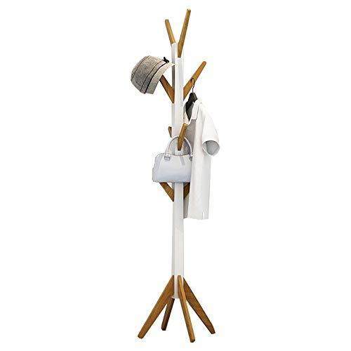 Style home Garderobenständer Kleiderständer Holz Garderobe acht Haken für Flur Diele Schlafzimmer Wartezimmer Weiß und Bambus Höhe: ca 178cm