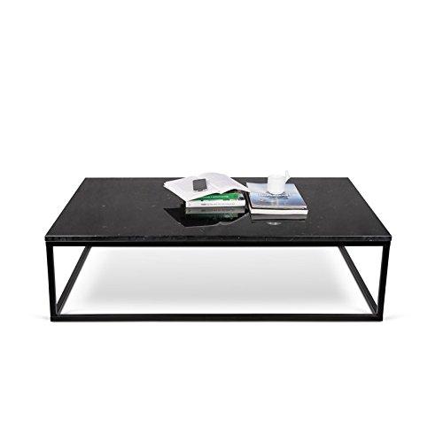 Paris Prix - Temahome - Table Basse 120cm Prairie Marbre Noir & Métal Noir