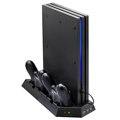 FASTSNAIL Support Compatible avec PS4 Pro avec Ventilateur de Refroidissement, Station de Charge Compatible avec PS4 avec Indicateur de...