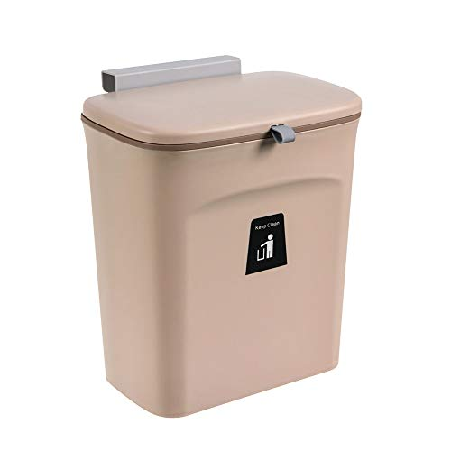 Oflywe Hanging Kitchen Trash Can,2.4 Gallon Compost Bin with Lid Wall Mounted Under Sink Trash Can for Kitchen, Bathroom,Bedroom, Baby Diaper Pail, Food Waste Bin(Coffee)