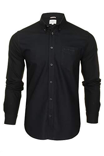 Ben Sherman Herren Freizeithemden Button-Down-Kragen Langarm (Black (Embroidered Pocket Logo)) XL