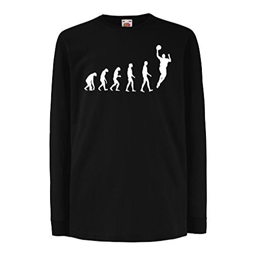 Camisetas de Manga Larga para Niño evolución de Baloncesto - Canasta de la Calle, me Encanta Este Juego, Gran Fan de Regalo (12-13 Years Negro Blanco)