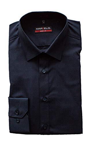 Marvelis Hemd, Marine, Langarm 64cm, Body Fit, Bügelleicht, New York Kent Kragen, 100% Baumwolle (39)