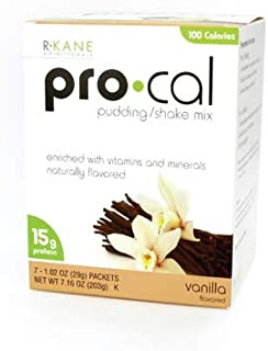 R-Kane Pro-Cal Shake High Protein Vanilla Shake and Pudding Mix, Weight Loss and Natural Energy Booster, Protein Powder Meal Replacement Shake- Vanilla Flavor, 7 Packets Per Box