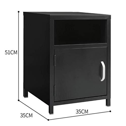 Metalen nachtkastje, boekenplank opbergdoos bank opbergkast zijhoek tafelZHFZD, Size, Zwart