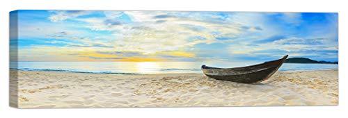 LuxHomeDecor Quadro Spiaggia Mare Tramonto Barca 100x30 cm Stampa su Tela con Telaio in Legno Arredamento Arte Arredo Moderno