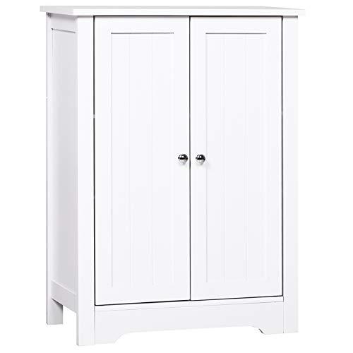 kleankin Badschrank Badezimmerschrank Badregal Kommode Standschrank 3 verstellbare Regale Holz Weiß 60 x 30 x 80 cm