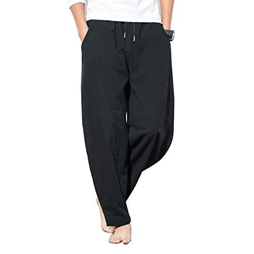 kiden パンツ メンズ サルエル アラジンパンツ リネン 大きいサイズ カジュアル ヒップホップ 九分丈 ワイドパンツ 無地 オールシーズン対応 ズボン ゆったり 通気性 黑 XL