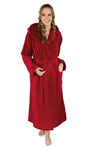 Dames badjas met capuchon S M L XL XXL saunamantel lengte 125 cm badstof (360gr/m2)