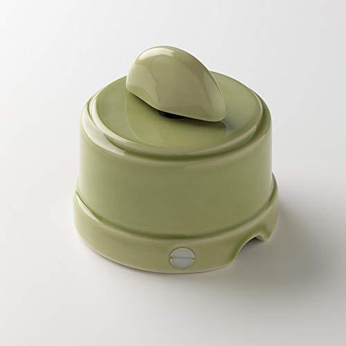Klartext - Interruttore/Deviatore a rotazione BELLE ÉPOQUE in stile vintage per installazione con cavo tessile, in pregiata porcellana artigianale, colore verde lucido