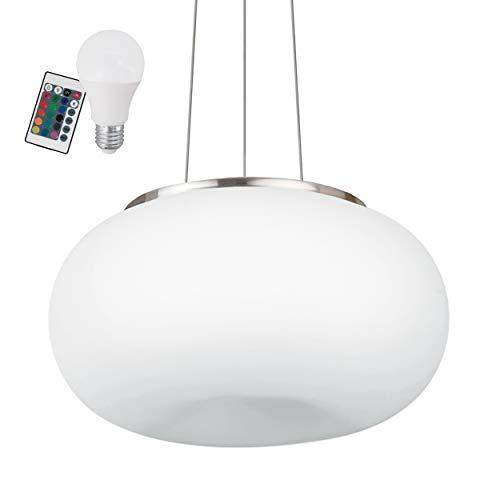 EGLO RGB Pendelleuchte Optica, inkl. RGB Leuchtmittel und Fernbedienung, Hängelampe aus Stahl, Farbe: Nickel matt, Glas: Opal matt weiß, dimmbar, Weißtöne und Farben einstellbar