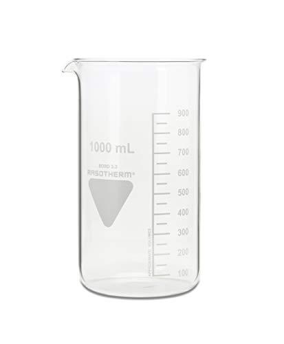 neoLab - Vaso de precipitado con boquilla Kimax Boro 3.3, de cristal, 1000 mL, Transparente (transparente)., 1