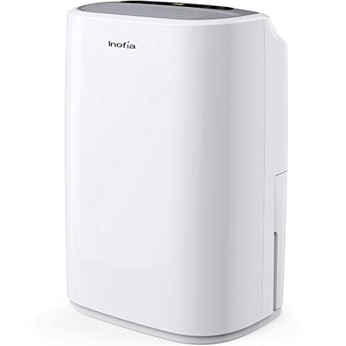Inofia 30 Pints Dehumidifiers for Home Basements with Continuous Drain Hose Outlet and 4-Pint Water Bucket, Intelligent Humidity Control for Bedroom Bathroom Garage and Rooms up to 1056 sq. ft.