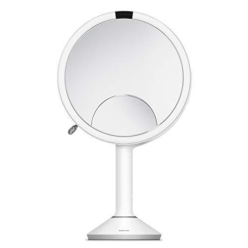 simplehuman, 10cm Sensorspiegel kompakt, 3-fache Vergrößerung, weiß Stahl, 5 Jahre Garantie