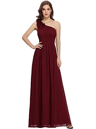 Ever-Pretty Vestito da Cerimonia Donna Chiffon A Fiori Una Spalla Stile Impero Senza Maniche Borgogna 46