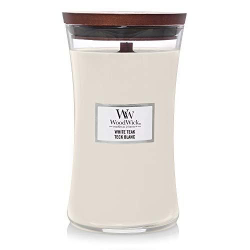 Große WoodWick Duftkerze im Sanduhrglas mit knisterndem Docht, White Teak, bis zu 130 Stunden Brenndauer