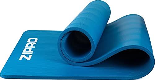 Tappetino per esercizi ZIPRO, tappetino da yoga, tappetino da yoga imbottito antiscivolo per ginnastica fitness pilates con tracolla, 15mm, blu