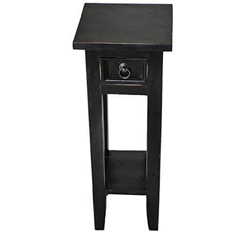 LioLiving®, Telefontisch Telefonkonsole Orkney im Vintage-Look aus Mahagoniholz (schwarz) (#400018)