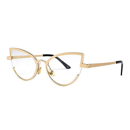 Negro único Gato Rojo Gafas de Sol del Ojo de la Alta Manera Linda Diseñador Pequeño Cateye Gafas de Sol Mujer Mujeres Lente Clara niña (Lenses Color : C5 Gold Clear)