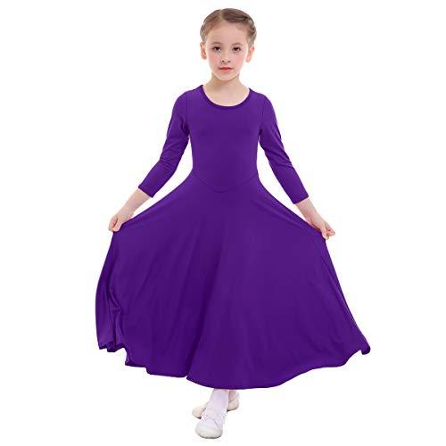 IWEMEK Mädchen Liturgisches Lob Kleid Kinder Tanzkleid mit Langarm Ballettkleid Partykleid Gebet Kleid Falten Maxikleid Party Anbetung Kostüme Violett 3-4 Jahre
