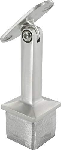 Handlaufstütze mit Gelenk für 40 x 40 x 2,0mm Pfosten, mit Halteplatte für Vierkant-Handlauf