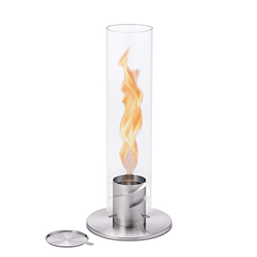 höfats - Spin 120 silver including stainless steel refill can - bioethanol fireplace for indoor and outdoor use - table fire lantern and stainless steel garden torch
