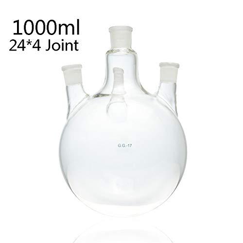 DADAKEWIN 1000ml Laboratorio Destilación Frasco, 4 Recta
