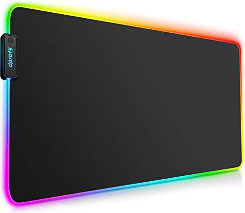 Tappetino RGB Mouse Gaming Grande - 800x300x4mm LED Mouse Pad, Superficie Liscia, Base in Gomma Antiscivolo Tappetino Scrivania Grande da Gioco per Computer MacBook, PC, Laptop