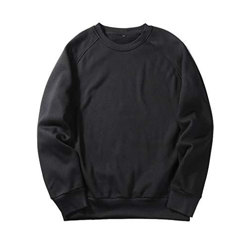 UJUNAOR Herren Langarm Hoodie T-Shirt Kapuzenshirt Mit Kapuze Männer Pullover in Vielen Farben (2XL, T-Schwarz)