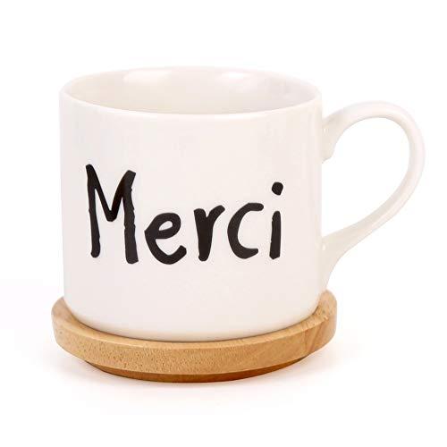 L-entcy Taza de café hecha a mano de 370 ml de cerámica con base de madera maciza, taza de café para la madre, taza de café, microondas, cumpleaños, boda, aniversario, regalo de boda