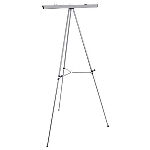 "U.S. Art Supply 66"" High Classroom Silver Aluminum Flipchart Display Easel and Presentation Stand - Large Adjustable Floor and Tabletop Portable Tripod, Holds 25 lbs - Holds Writing Pads, Poster Board"
