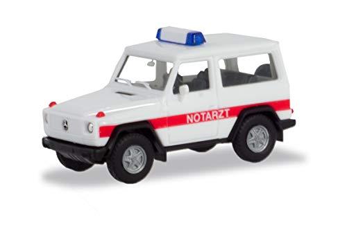 herpa 094818 Miniatur zum Basteln, Spielen oder als Geschenk G-Klasse Mercedes-Benz G-Modell Notarzt, Fahrzeug in Mini, Mehrfarbig