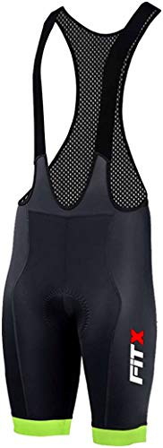 FiTX Men Cycling Bib Shorts 3D Gel Padded Bicycle Bibs Compression Breathable MTB Pants Anti-Slip Leg Gripper