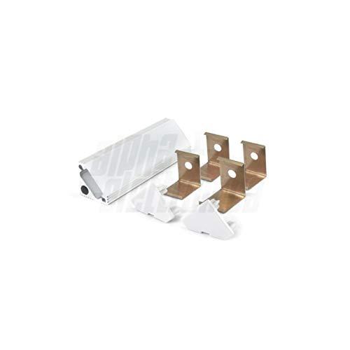 Profilo angolare compatibile per strip led philips hue in alluminio silver 2mt PR3 con cover trasparente