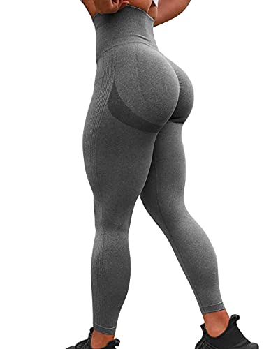 TAYOEA Damen Kompressions Sport Leggings Yoga Lange Leggings Slim Fit Fitnesshose Sporthosen Blickdicht Scrunch Butt Yogahose Nahtlos Push up Leggings Hohe Taille Übung Fitness Joggen Grau,M