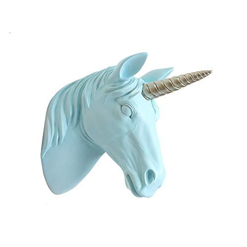 Unicornio Escultura De Pared,Estatua De La Cabeza De Unicornio Con Cuerno De Plata Montaje En Pared,Falso Resina Cabeza De Animal Decoración De Pared,Listo Para Colgar Azul 14.5x29x36.5cm(6x11x14inch)