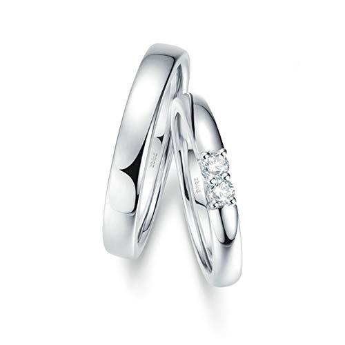 Daesar Anillos Oro Blanco 18 Kilates Mujer Hombre Plata Anillos Redondo Pulido con Diamante Blanco 0.098ct Talla Mujer 20 & Hombre 17