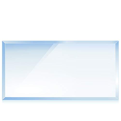 bijon® Funkenschutz-Platte mit Facettenschliff | Glasplatte Kaminofen | Kaminschutz mit ESG Sicherheitsglas | Kamin Zubehör | Kamin Glasplatte | Rechteck 50 x 110 cm | 6mm