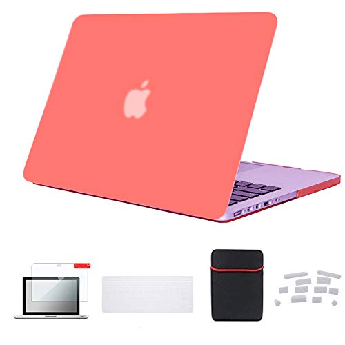 Se7enline MacBook Pro 13 inch Case A1502/A1425 Hard Laptop Cover for MacBook Pro 13-inch Retina Display Mac Book Pro Accessories Keyboard Cover, Sleeve Bag, Screen Protector, Dust Plug,Living Coral